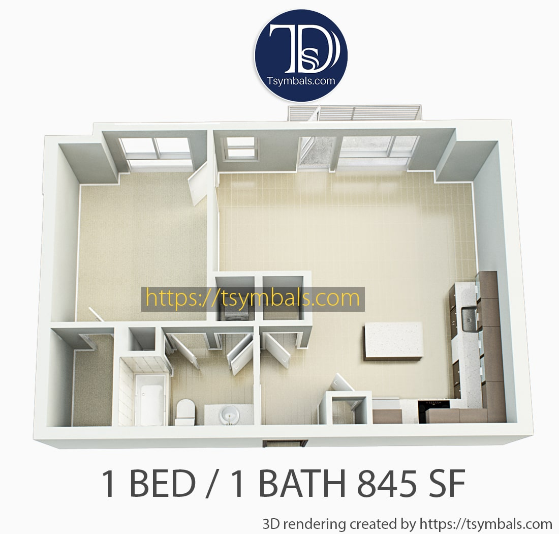 One bedroom apartment 3d floor plan unfurnished 1e