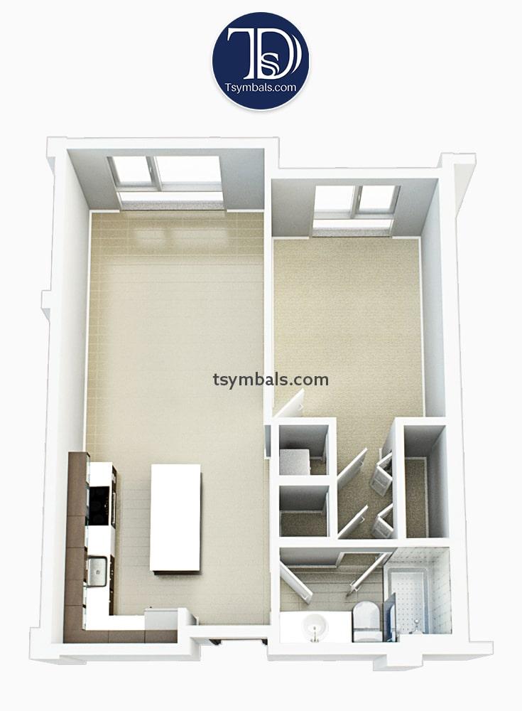 One bedroom apartment 3d floor plan unfurnished S2 min