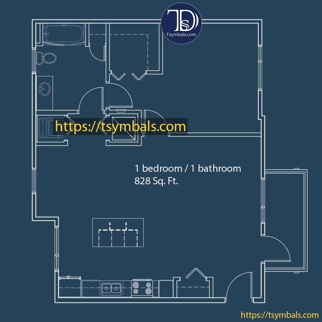 One bedroom apartment drawing nolen f min
