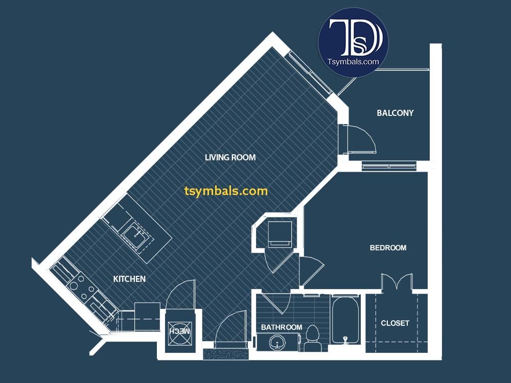 One bedroom apartment floor plan blueprint 1C