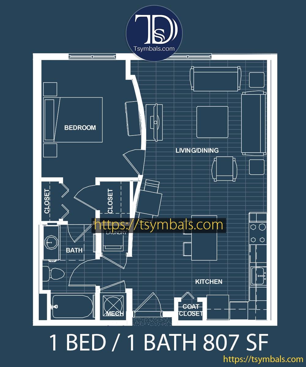 One bedroom apartment floor plan blueprint 1D