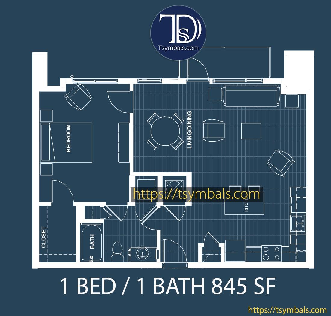 One bedroom apartment floor plan blueprint 1e