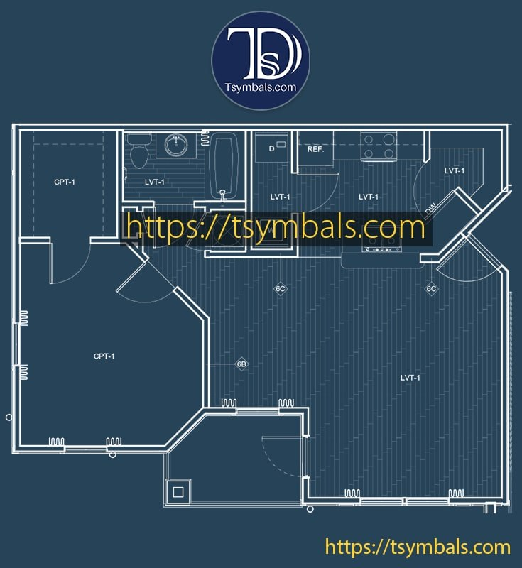 One bedroom apartment floor plan drawing furnished mosaic a1 min
