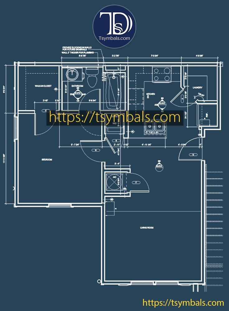One bedroom apartment floor plan drawing furnished mosaic a2 min