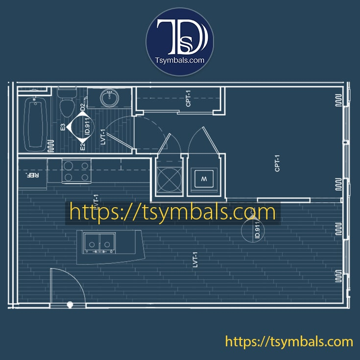 One bedroom apartment floor plan drawing furnished mosaic a3 min