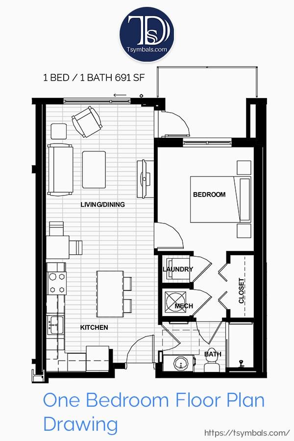 One Bedroom Apartment Floor Plan Drawing
