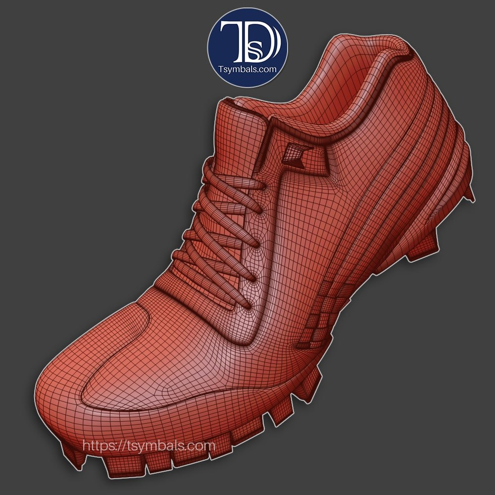 man cleats 3d model wireframe 01