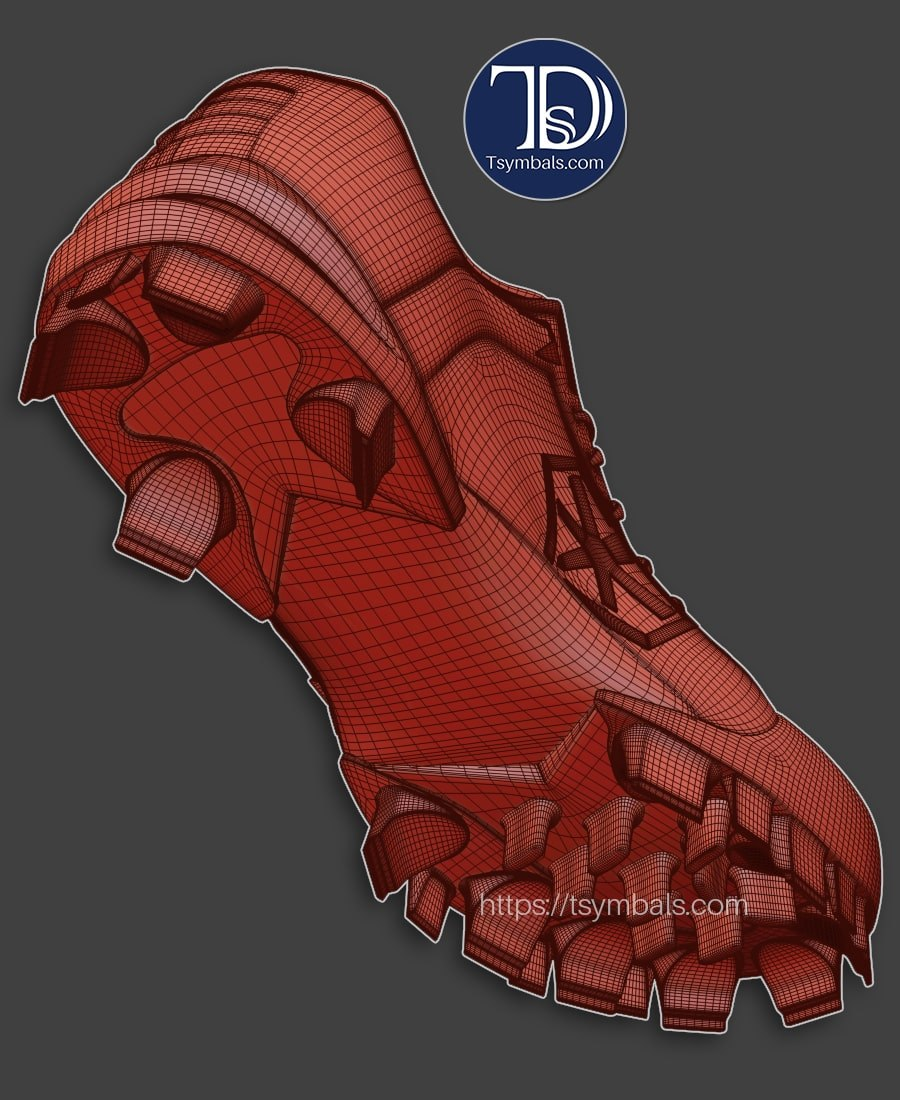 man cleats 3d model wireframe 03