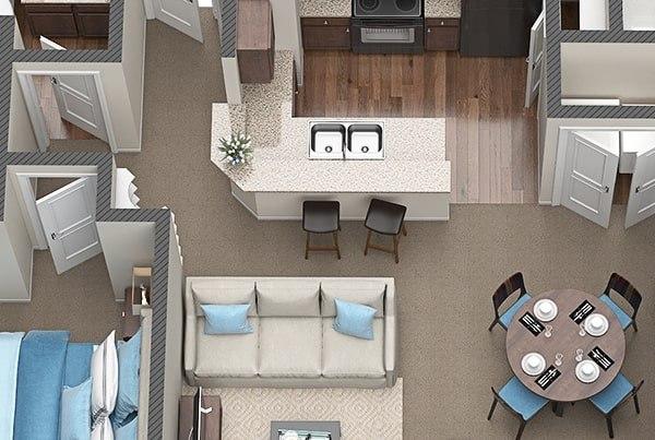3D Floor Plans for Austin Texas based Apartments